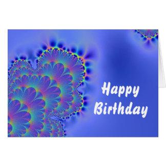 Tarjeta Azul del cumpleaños del fractal