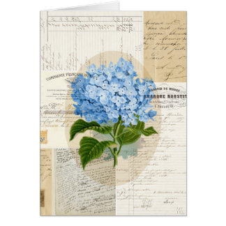 Tarjeta azul del francés del Hydrangea del vintage