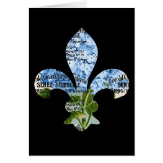 Tarjeta azul del Hydrangea de la flor de lis