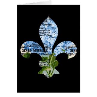 Tarjeta azul del Hydrangea de la flor de lis franc