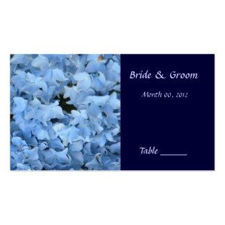 Tarjeta azul del lugar de la tabla del Hydrangea Plantillas De Tarjetas Personales