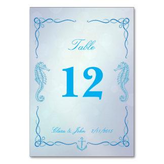 Tarjeta azul del número de la tabla de la