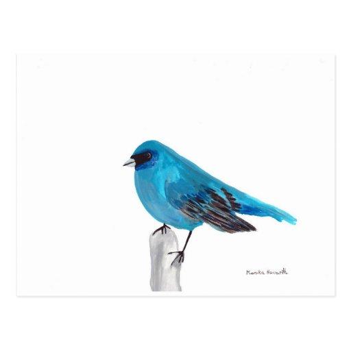 Tarjeta azul del pájaro postales