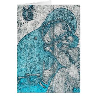 Tarjeta Azul del vintage del Jesucristo del Virgen María y