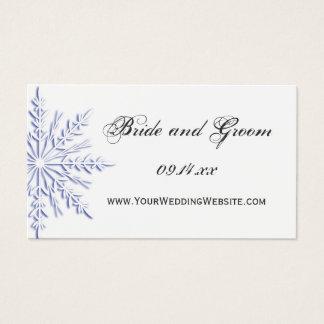 Tarjeta azul del Web site del boda del invierno