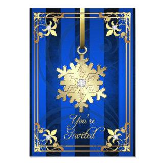 Tarjeta azul dorada del día de fiesta del copo de invitación 12,7 x 17,8 cm