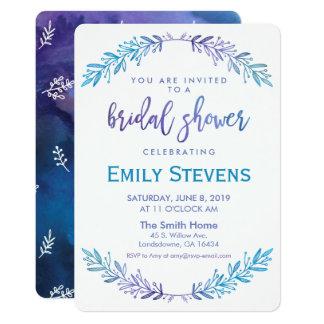 Tarjeta Azul floral de la acuarela y púrpura nupciales