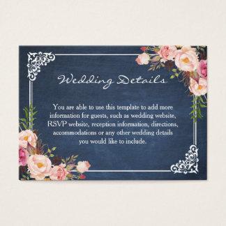 Tarjeta azul floral rústica del parte movible del