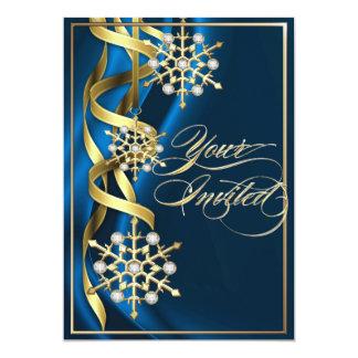 Tarjeta azul Jeweled del día de fiesta del copo de Invitación 12,7 X 17,8 Cm