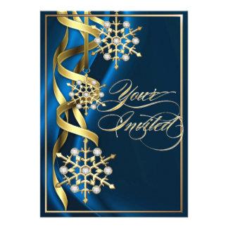 Tarjeta azul Jeweled del día de fiesta del copo de