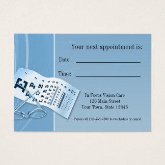 Tarjeta azul moderna de la cita del optometrista