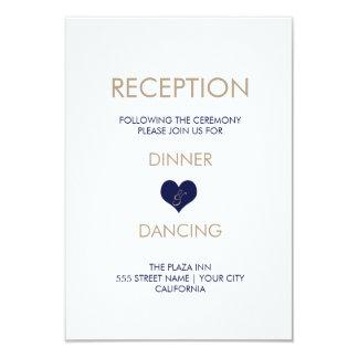 Tarjeta azul moderna de la recepción del corazón y invitación 8,9 x 12,7 cm