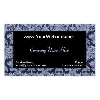 Tarjeta azul neutral negra del perfil del damasco plantilla de tarjeta personal