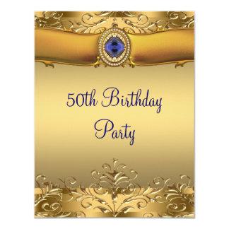 Tarjeta Azul real elegante y 50.a fiesta de cumpleaños del