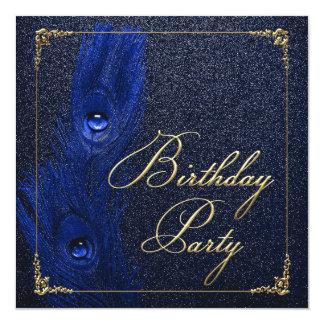 Tarjeta Azul real y fiesta de cumpleaños elegantes del