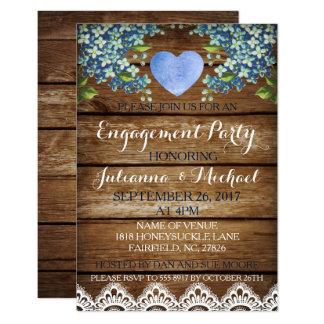 Tarjeta azul rústica del Hydrangea y del fiesta de