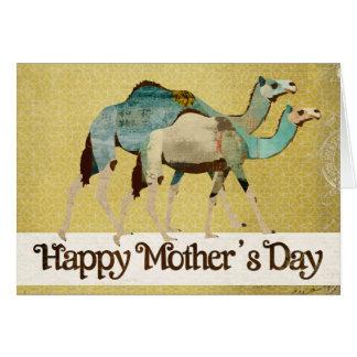 Tarjeta azul soñadora del día de madre de los came