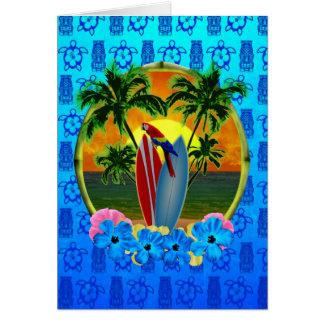 Tarjeta Azul tropical Tiki de la puesta del sol