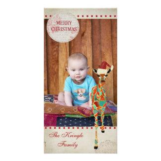 Tarjeta azul y ambarina de la foto del navidad de tarjetas fotográficas