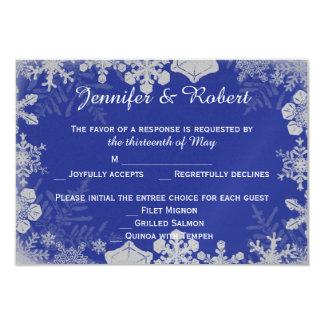 Tarjeta azul y de plata de la respuesta del boda invitación 8,9 x 12,7 cm