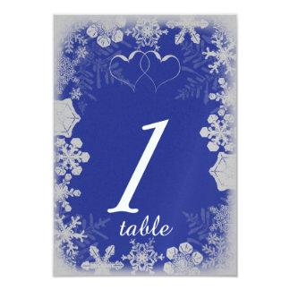 Tarjeta azul y de plata de la tabla del boda del invitación 8,9 x 12,7 cm