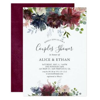 Tarjeta Azul y ducha floral de los pares de la acuarela de