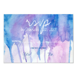 Tarjeta azul y púrpura de la acuarela el | RSVP