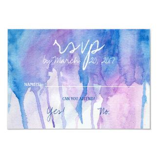 Tarjeta azul y púrpura de la acuarela el | RSVP Invitación 8,9 X 12,7 Cm