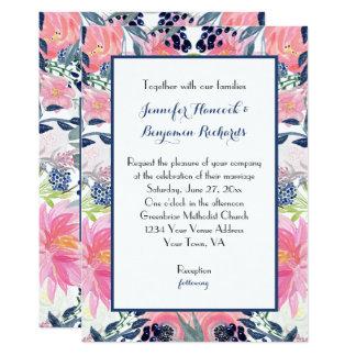 Tarjeta Azules marinos #2 con bodas rosados de los rosas