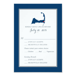 Tarjeta Azules marinos Cape Cod con el menú que se casa