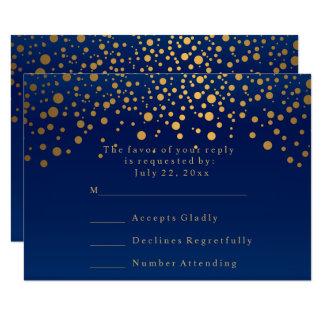 Tarjeta Azules marinos de RSVP y boda elegantes del punto