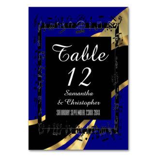 Tarjeta Azules marinos, negro y número personalizado oro