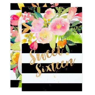 Tarjeta B+Rayas de W, dulce 16, flor de la primavera de la