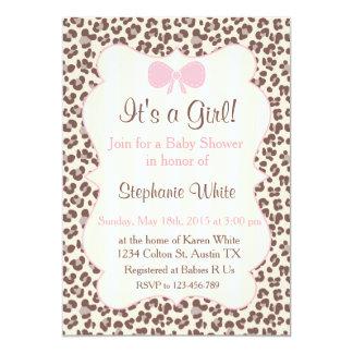 Tarjeta Baby Shower girl pink leopard