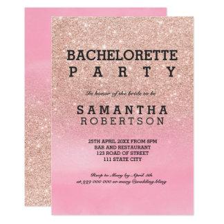 Tarjeta Bachelorette color de rosa de la acuarela del rosa