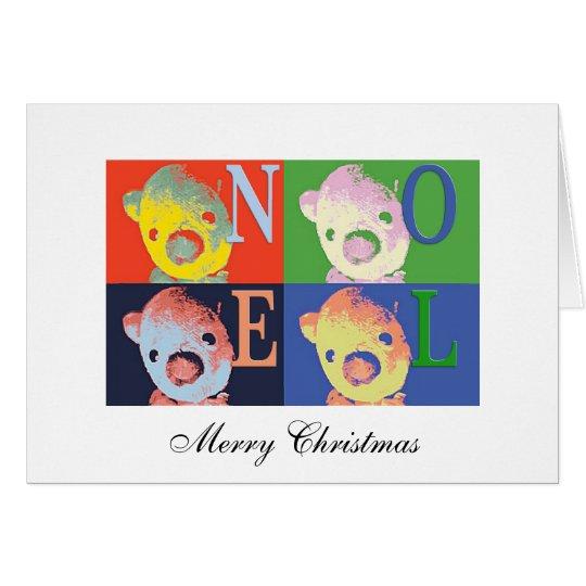 Tarjeta Bah navidad del oso que saluda