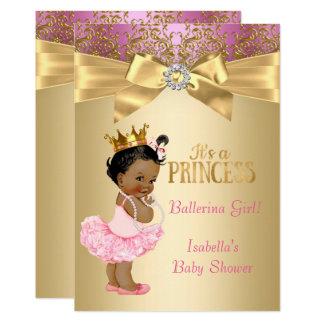 Tarjeta Bailarina del oro del rosa de la princesa fiesta