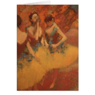 Tarjeta Bailarines de Edgar Degas el   en faldas amarillas