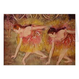 Tarjeta Bailarines de Edgar Degas que doblan abajo de