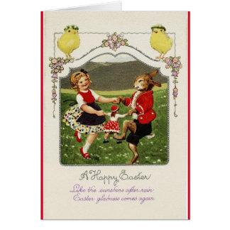 Tarjeta Bailarines de Pascua del vintage