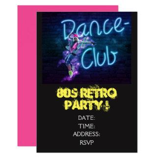 Tarjeta baile retro del tema de los años 80