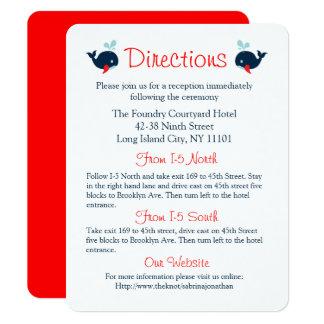 Tarjeta Ballenas de azules marinos rojas náuticas de las
