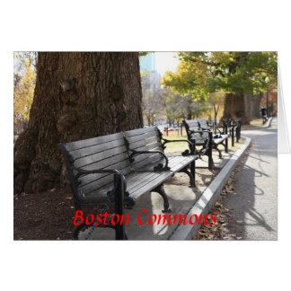 Tarjeta Banco de parque, campos comunes de Boston,