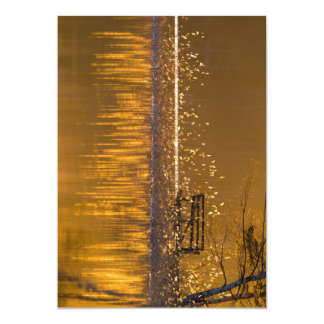 Tarjeta Banco solo por el lago en la luz de oro