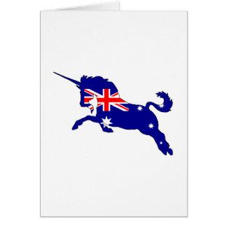 Tarjeta Bandera australiana - unicornio