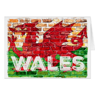 Tarjeta Bandera de País de Gales en ladrillo