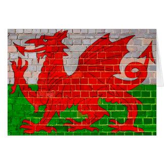 Tarjeta Bandera de País de Gales en una pared de ladrillo