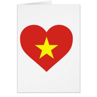 Tarjeta Bandera de Vietnam - vàng del sao del đỏ del amor