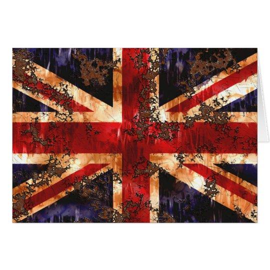 Tarjeta Bandera patriótica aherrumbrada de Reino Unido