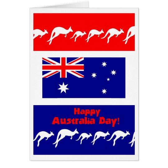 Tarjeta, bandera y KangaROOS de felicitación del